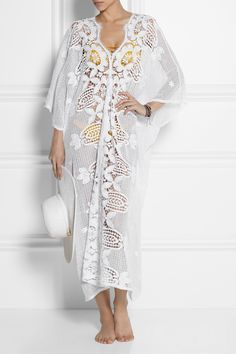 Honeymoon ready? This gorgeous crocheted cotton lace kaftan from Miguelina is perfect for your trip #netaporter