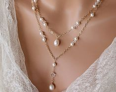 PEARL BACKDROP NECKLACE Double Stranded by LalleBridalJewelry