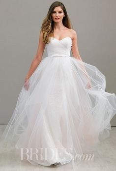 A strapless @hayleypaigejlm wedding dress with a floaty, ethereal skirt   Brides.com
