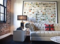 home living room couch masculine art brick