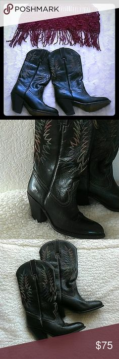 """Brown Cowboy Boots EUC. I am a 7 1/2, but these are a size 7 M. They're just too small for me. Top is not in included.  They're brown with blue, red and yellow stitching. 3"""" heel. All leather. Made in Brazil. Minor knicks on heels, but doesn't detract from these gorgeous boots.  They could use some new heel caps.   Super cute with shorts, or dresses! Price firm unless bundled. Kane Shoes Heeled Boots"""