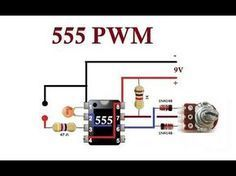 555 Very Simple PWM to dim LED, dim DC lights and control the speed of DC motors. I will use this circuits to control my LED strips in my car and the motor f. Hobby Electronics, Electronics Components, Electronics Projects, Electronic Circuit Design, Electronic Engineering, Componentes Smd, Electrical Circuit Diagram, New Electronic Gadgets, Power Supply Circuit