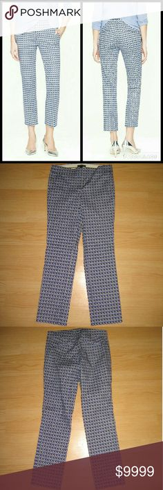 """J Crew Campbell Capri Pants Abstract Weave Print These pants are preloved but still in very good condition. They are the Campbell Capri with an Abstract Weave Print in Blue Facade. Made of 97% cotton 3% spandex. Tag size is 00.  - Waist across with natural dip is 13.75"""" - Waist across when aligned is 14.25"""" - Front rise is 8"""" - Inseam is 26"""" J. Crew Pants Capris"""