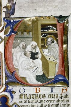 Books everywhere in this scene showing Bernard of Clairvaux lecturing (Bodleian Canon. Pat. Lat. 156).   Книги повсюду в этой сцене, здесь показана лекция Берна́рда Клерво́ского