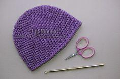 Free Crochet Pattern: Basic Beanie (Single Crochet) NB to Adult, WW yarn, H hook