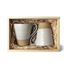 Give the gift of a pair of handmade farmhouse mugs. These durable stoneware pieces make the sipping experience more enjoyable! Gift card included, write a personalized note at checkout. - Style #: FAC