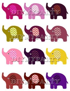 Printable party decor elephant Clip Art Elephant clipart holiday decoration pdf file digital birthday party diy scrapbooking tag (465)