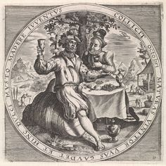 """""""Oktober"""", Paar dat wijn drinkt, Anonymous, Crispijn van de Passe (I), Maerten de Vos, 1574 - 1687"""