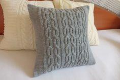 Cable decorativo gris personalizado tejido funda de almohada