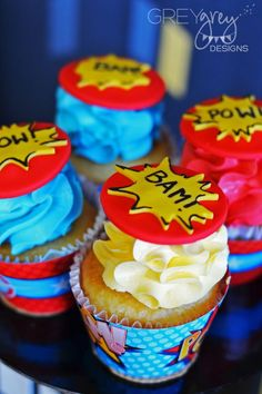 Superhero Birthday Party Cupcakes - a fun dessert idea for a kids birthday party!