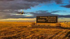 Lockheed C-130 Hercules arriving on runway 7/25 in YQU Grande Prairie, AB