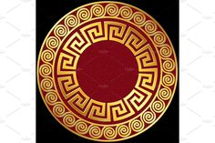 Traditional vintage Golden round Greek ornament, Meander pattern on red and black background Red And Black Background, Chinese Patterns, Gold Ornaments, Geometric Logo, Tattoos Gallery, Gold Pattern, Acanthus, Mandala Art, Tattos