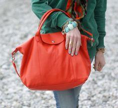 Longchamp Le Pliage cuir bag, Fashion and Cookies