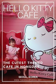 Hello Kitty Cafe, Hongdae, Seoul, Korea: The Hello Kitty Cafe in Hongdae is a pink and white themed cafe in the midst of a live music and art district. Cute, quirky and pink. This is the cutest themed cafe in Seoul, Korea.