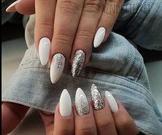 Classy Almond Nails, White Almond Nails, Almond Shape Nails, Almond Acrylic Nails, Winter Nail Designs, Nail Art Designs, Winter Nails, Spring Nails, Summer Nails