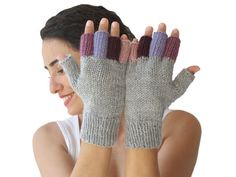 Made with gray, purple, pink, lilac, burgundy high quality wool - acrylic blended yarn. It is perfect for keeping you modish and warm. Mitten Gloves, Mittens, Lilac, Purple, Pink, Fingerless Gloves, Fashion Accessories, Burgundy, Wool