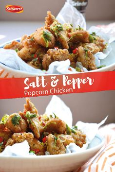 A popular combination of Chinese spices. This popcorn chicken recipe made by the Dumpling Sisters is seasoned with specially crafted chilli flakes that have a perfect ratio of red flakes and yellow seed. Salt And Chilli Chicken, Chicken Spices, Chicken Recipes, Dinner Dishes, Dinner Recipes, Asian Recipes, Healthy Recipes, Chinese Spices, Chinese Food