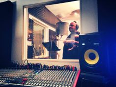 Recording 'The Advancing Man' with Kevin Knapp at The Point Blank Studios, London.