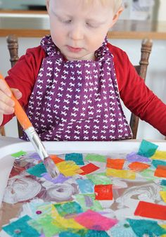 Foil Collage- an easy art activity for kids and their parents.