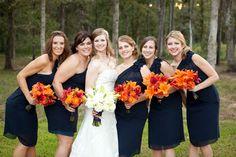 orange, navy, cranberry wedding | Wedding Color Palette: Navy Blue and Orange