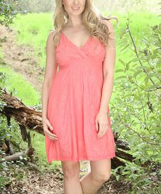 Look at this Coral Floral Crochet Surplice Dress on #zulily today!