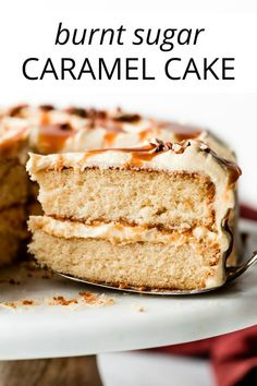 This unique and absolutely divine burnt sugar caramel cake gets its flavor from burnt sugar syrup. We'll use the syrup in both the cake and frosting. Baking Recipes, Cake Recipes, Dessert Recipes, Desserts, Burnt Sugar Cake, Sugar Frosting, Sallys Baking Addiction, Toasted Pecans, Savoury Cake