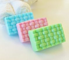 Basket Weave Natural Gift Soap - Choose Your Color, Bamboo & White Grapefruit scent by crimsonhill $4.25, via Etsy.