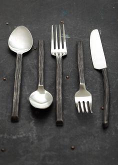 Blackbird - Blackbird - Bark Flatware Set of 5 Artisan Cafe, Modern Flatware, Inside A House, Dinner Wear, Stainless Steel Cutlery, Petrified Wood, Flatware Set, Tool Design, Modern Rustic