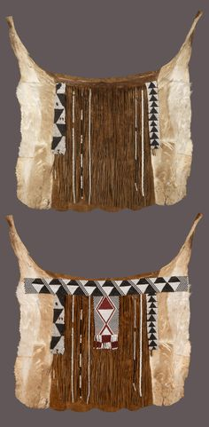 Africa | Animal hide back apron / cache sexe from the Yei women of northern western Botswana, on the edges of the Okavango swamps | ca. from the mid 20th century, although the beaded strips and ostrich shells have been recycled from an earlier piece. | Animal skin, glass beads, ostrich shell beads || The bottom image the piece has been combined with a back belt, as it would have been worn.