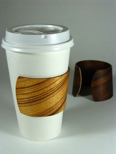 sleek reusable wood cup insulator