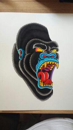Gorilla - Land of Tattoos Desenho New School, Dessin Old School, Traditional Tattoo Design, Traditional Tattoo Flash, Traditional Tattoo Gorilla, Japanese Tattoo Art, Japanese Tattoo Designs, Time Tattoos, Sleeve Tattoos