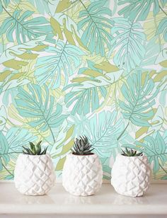 Acuarela Palma Monstera hojas de papel pintado por Jumanjii en Etsy