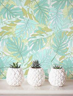 Aquarelle Palm Monstera feuilles de papier peint, amovible, auto adhésif papier peint, Décor de mur de Jungle, Jungle revêtement mural - JW094