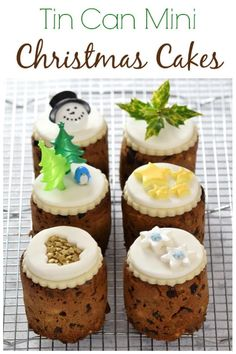 Baked Bean Tin Mini Christmas Cakes : How to make mini christmas cakes in tin cans recipe - use mini baked bean tins to bake these cute little cakes - great homemade gift idea Mini Christmas Cakes, Christmas Desserts, Family Christmas, Christmas Time, Christmas Recipes, Christmas Fruitcake, Christmas Baking Gifts, Xmas Cakes, Simple Christmas