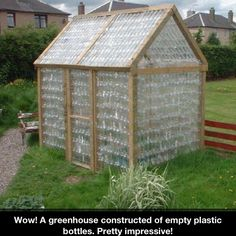diy greenhouse made from plastic 2 liter soda bottles... don't know about the actual efficiency of this but it is still cool!