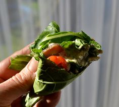 Tina's Raw Alkaline diet!:spinach, tomato, sunflower seeds, ....etc, wraped in bok choy leaves