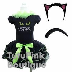Girls Black Cat Halloween Costume Tutu Pink Boutique TutuPink