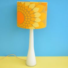 Vintage 1960s Scandinavian Lamp - Holmegaard Base & Swedish Fabric Shade - Orange & Yellow