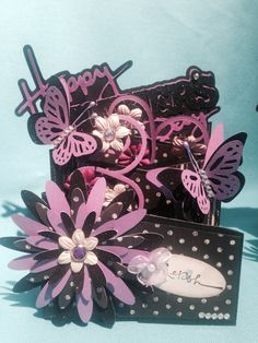Mother's Day cards ... Cascading card, black & purple -3 Cascading Card, Mothers Day Cards, Purple, Black, Black People, Purple Stuff