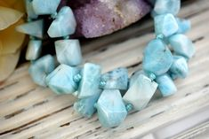 Larimar faceted beads 8-13mm (ETB01560) Rarestone/Unique jewelry/Vintage jewelry/Healing crystal