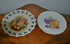 Two Fruit Motif Plates, Collector's Plates, Saji, Schumann Arzberg by Collectitorium on Etsy Vintage Plates, Fine China, Bavaria, Fine Dining, The Collector, Pineapple, Decorative Plates, Strawberry, Chips