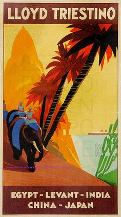 Vintage Cruise Travel Poster: Lloyd Triestino Italian Shipping Lines to Egypt, India, China & Japan