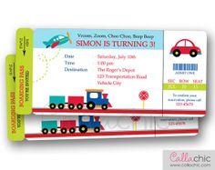 Transportation Ticket Invitation PRINTABLE - Boarding Pass Birthday Invite for Boy/Girl - Car Train Plane on Etsy, $14.00