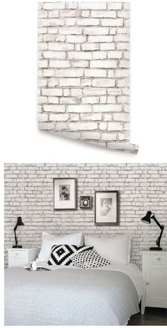 Brick White Peel and Stick Wallpaper - http://centophobe.com/brick-white-peel-and-stick-wallpaper/ -