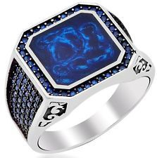 Turkish Handmade 925 Sterling Silver SPECIAL Sapphire Mens Ring Sz 11 Free Rsz