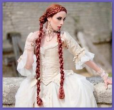 Medieval Renaissance costume wig long Braid hair extensions SCA garb - Home Renaissance Hairstyles, Renaissance Costume, Historical Hairstyles, Renaissance Wedding, Medieval Costume, Renaissance Fair, Braids Wig, Long Braids, Plait Braid