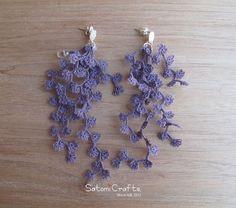 《受注製作》Pierces, Tatting Jewelry Flower strings_purple|ピアス(フック・チェーン)|ハンドメイド通販・販売のCreema