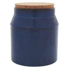 MARACAY Small blue ceramic storage jar with cork lid 17cm