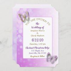 Butterfly Wedding Invitations, Wedding Invitation Size, Colored Envelopes, White Envelopes, Purple Butterfly, Envelope Liners, Custom Invitations, Reception, Diy