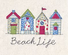 A4 Print of machine free motion embroidery and appliqué illustration of a pretty row of beach huts in red, green and blue. 'Beach Life' by DaysInDesign on Etsy https://www.etsy.com/listing/192090473/a4-print-of-machine-free-motion
